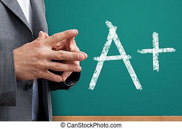 Teacher hands crosed and on blackboard is very motivating score