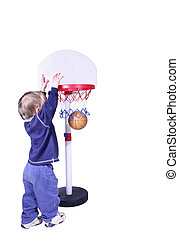 score! - isolated toddler boy scoring a basket