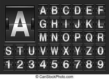 scoreboard, alphabet.