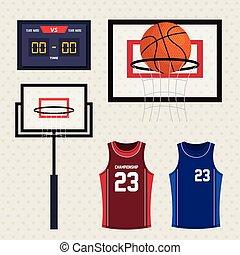 scoreboard, aro, tanque, ícones, jogo, topos, basquetebol