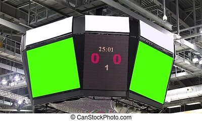 Scoreboard at the stadium with a gr - Green screen at the...