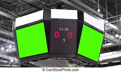 Scoreboard at the stadium with a green screen and banners.