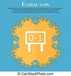 Scoreboard icon icon. Floral flat design on a blue abstract background with place for your text. Vector