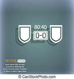 Scoreboard icon. On the blue-green abstract background with shadow and space for your text. Vector