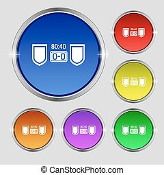 Scoreboard icon sign. Round symbol on bright colourful...