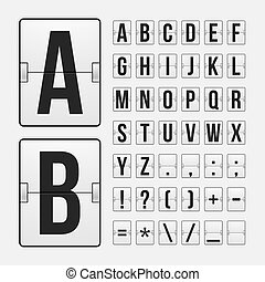 Scoreboard letters and symbols alphabet panel - Vector...