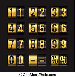 Scoreboard numbers. - Vector countdown timer and date,...
