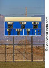 Scoreboard over the baseball field in Utah Valley
