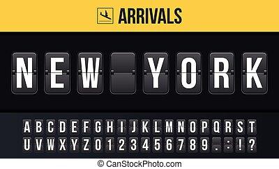 scoreboard, planche, créatif, vecteur, arrivées, aéroport, concept., analogue, chiquenaude, destination, signe, conception, gabarit, arrivées, art, illustration, départ, nouveau, horaire, arrière-plan., york