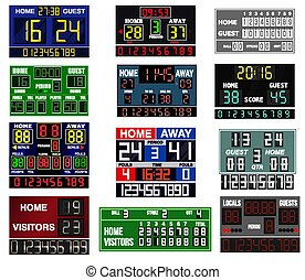 Scoreboard time and clock information displays team score game vector illustration.