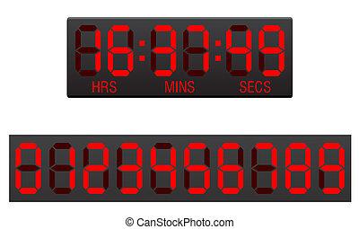 scoreboard, timer, conto alla rovescia, vettore, illustrazione, digitale