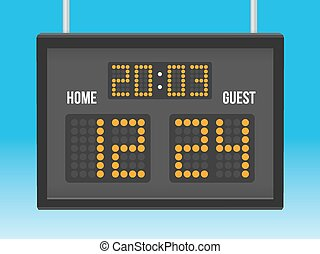 Scoreboard with game result for home and guests vector...