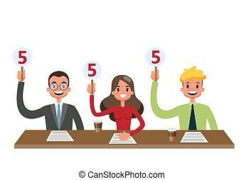 scorecards, pokaz, biurko, jury, posiedzenie