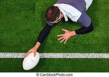 scoren, bal, rugby, een, bewjizen, speler, hand