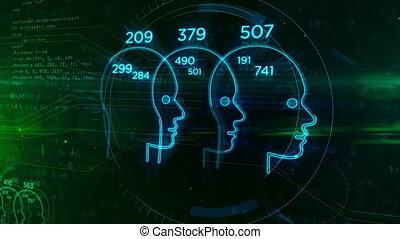 scoren, classificatie, hoofd, concept, mensen, vorm, sociaal