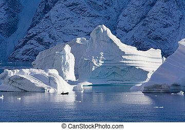 scoresbysund, fiordo, groenlandia, -, nord-ovest
