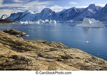 scoresbysund, groenland, van, -, fjord, noordwesten