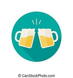 scorie, tazze, birra, icons.