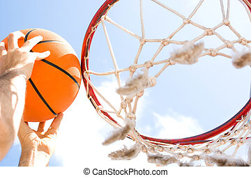 scoring basket in basketball court