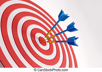 Scoring concept - Close up of success dart board target with...