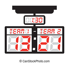 Scoring machine design over white background, vector...