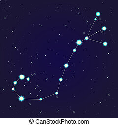 Constellation of scorpio on night starry sky