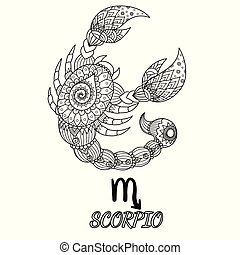 Scorpio - Zendoodle design of Scorpio zodiac sign for design...