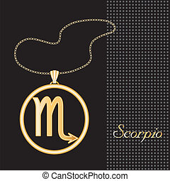 Scorpio Gold Necklace - Gold embossed horoscope symbol,...