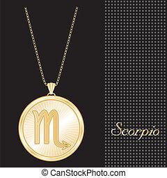 Scorpio Gold Pendant Necklace - Gold engraved horoscope...