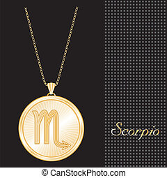 Scorpio Gold Pendant Necklace - Gold engraved horoscope...