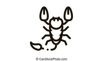 Scorpio Icon Animation. black Scorpio animated icon on white background