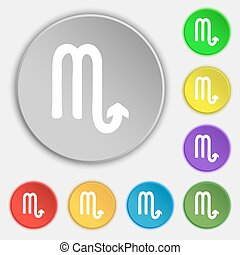 Scorpio icon sign. Symbol on eight flat buttons. Vector