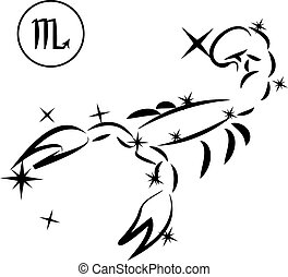 Scorpio - Lovely zodiac signs formed by stars on black...