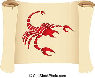 Scorpio on a manuscript - Scorpio zodiac star sign on a...