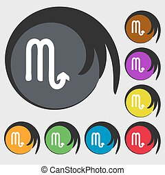 Scorpio sign icon. Symbols on eight colored buttons. Vector