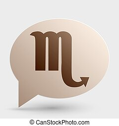 Scorpio sign illustration. Brown gradient icon on bubble with shadow.
