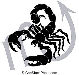 Illustration of Scorpio the scorpion zodiac horoscope astrology sign