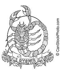 Scorpio zodiac sign coloring book vector illustration. ...