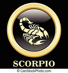 Scorpio zodiac sign in circle frame, vector Illustration....