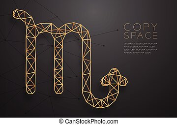 Scorpio Zodiac sign wireframe Polygon golden frame structure, Fortune teller concept design illustration isolated on black gradient background with copy space, vector eps 10