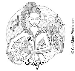 Scorpio zodiac sign young woman motorcyclist - Scorpio...