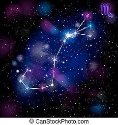 scorpion, arrière-plan., constellation, triangulaire