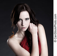Scorpion Beauty - Beauty shot of a beautiful female model...