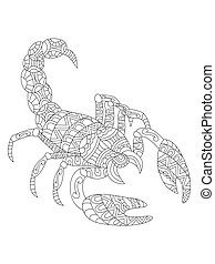 Scorpion coloring vector for adults - Vector illustration of...