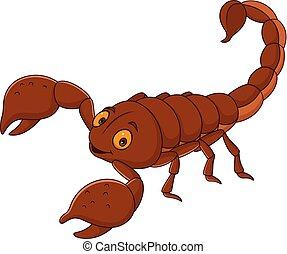 scorpion, dessin animé, heureux