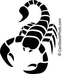 Scorpion icon in simple tattoo style, vector design