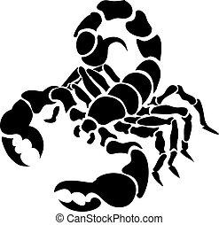 scorpion illustration - Monochrome vector illustration of a...