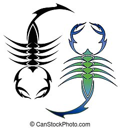 scorpion symbols - Tattoo inspired scorpions in two color...