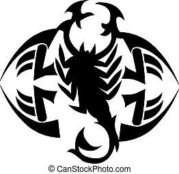 Scorpion tattoo design, vintage engraving.
