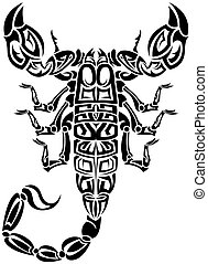 The vector image of a scorpion from compound contours in the form of the tattoo sketch